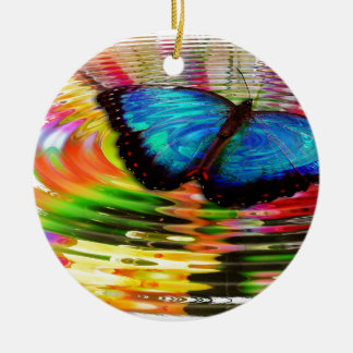 Beautiful See-Thru Blue Butterfly In Rainbow Pool Ceramic Ornament