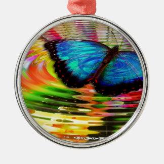 Beautiful See-Thru Blue Butterfly In Rainbow Pool Metal Ornament