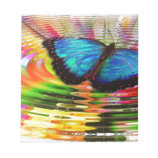 Beautiful See-Thru Blue Butterfly In Rainbow Pool Note Pads