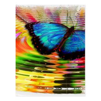 Beautiful See-Thru Blue Butterfly In Rainbow Pool Postcard