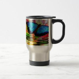 Beautiful See-Thru Blue Butterfly In Rainbow Pool Travel Mug