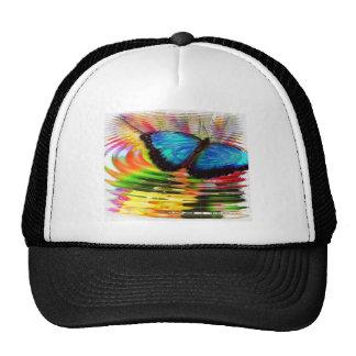Beautiful See-Thru Blue Butterfly In Rainbow Pool Trucker Hat