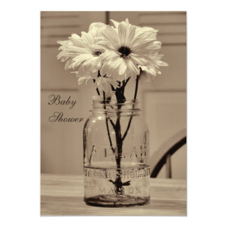 Beautiful Sepia Mason Jar & Daisies Baby Shower Card