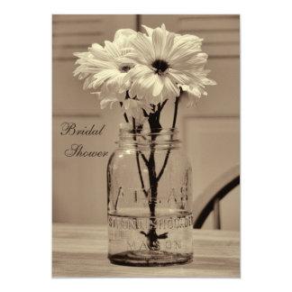 Beautiful Sepia Mason Jar & Daisies Bridal Shower 5x7 Paper Invitation Card