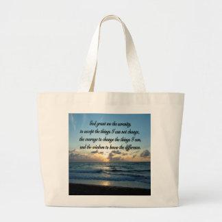 BEAUTIFUL SERENITY PRAYER OCEAN PHOTO LARGE TOTE BAG