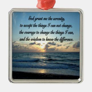 BEAUTIFUL SERENITY PRAYER OCEAN PHOTO METAL ORNAMENT