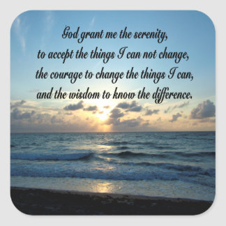 BEAUTIFUL SERENITY PRAYER OCEAN PHOTO SQUARE STICKER