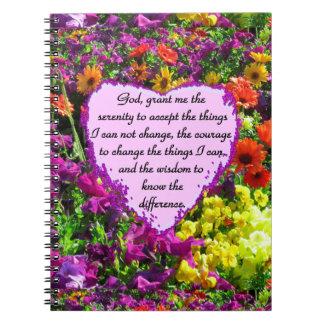 BEAUTIFUL SERENITY PRAYER PHOTO DESIGN SPIRAL NOTEBOOK