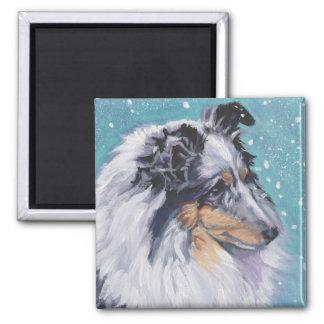 Beautiful Sheltie Shetland Sheepdog Fine Art 2 Inch Square Magnet