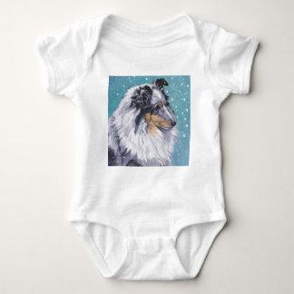 Beautiful Sheltie Shetland Sheepdog Fine Art Baby Bodysuit