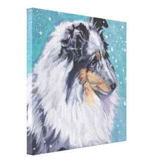 Beautiful Sheltie Shetland Sheepdog Fine Art Canvas Print