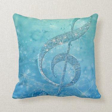 Beautiful shining effect blue treble clef pillows