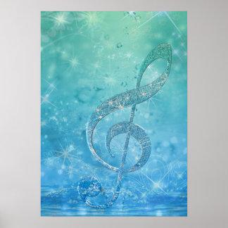 Beautiful shining effect blue treble clef poster