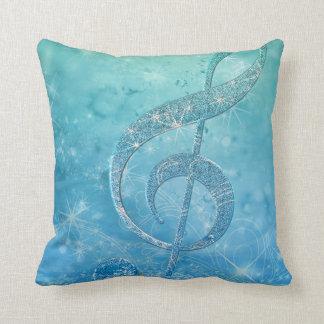 Beautiful shining effect blue treble clef throw pillow