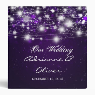 Beautiful Shining Stars Purple Wedding Binder