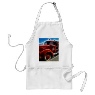 Beautiful Shiny Antique Red Fire Truck Art Adult Apron