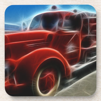 Beautiful Shiny Antique Red Fire Truck Art Beverage Coaster