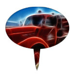 Beautiful Shiny Antique Red Fire Truck Art Cake Toppers