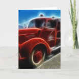 Beautiful Shiny Antique Red Fire Truck Art Greeting Card