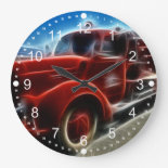Beautiful Shiny Antique Red Fire Truck Art Clock