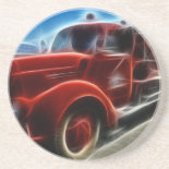 Beautiful Shiny Antique Red Fire Truck Art Coasters