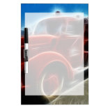 Beautiful Shiny Antique Red Fire Truck Art Dry Erase Board