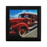 Beautiful Shiny Antique Red Fire Truck Art Keepsake Box