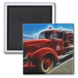Beautiful Shiny Antique Red Fire Truck Art Refrigerator Magnets