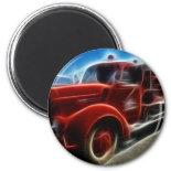 Beautiful Shiny Antique Red Fire Truck Art Refrigerator Magnet