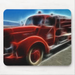 Beautiful Shiny Antique Red Fire Truck Art Mouse Pad