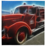 Beautiful Shiny Antique Red Fire Truck Art Napkins