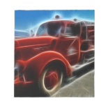 Beautiful Shiny Antique Red Fire Truck Art Memo Notepad