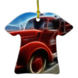 Beautiful Shiny Antique Red Fire Truck Art Ornaments
