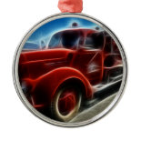 Beautiful Shiny Antique Red Fire Truck Art Christmas Tree Ornament