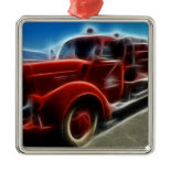 Beautiful Shiny Antique Red Fire Truck Art Christmas Ornament