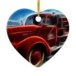 Beautiful Shiny Antique Red Fire Truck Art Christmas Ornaments