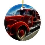 Beautiful Shiny Antique Red Fire Truck Art Ornament