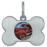 Beautiful Shiny Antique Red Fire Truck Art Pet Tags