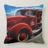 Beautiful Shiny Antique Red Fire Truck Art Pillow