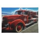 Beautiful Shiny Antique Red Fire Truck Art Place Mat