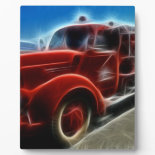 Beautiful Shiny Antique Red Fire Truck Art Plaques
