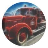 Beautiful Shiny Antique Red Fire Truck Art Dinner Plate