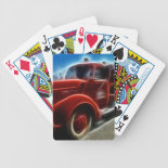 Beautiful Shiny Antique Red Fire Truck Art Card Deck