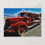 Beautiful Shiny Antique Red Fire Truck Art Post Cards