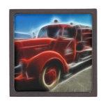 Beautiful Shiny Antique Red Fire Truck Art Premium Trinket Box