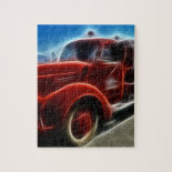 Beautiful Shiny Antique Red Fire Truck Art Jigsaw Puzzles