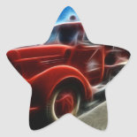 Beautiful Shiny Antique Red Fire Truck Art Star Stickers