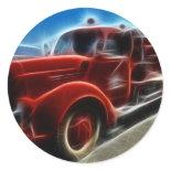 Beautiful Shiny Antique Red Fire Truck Art Round Sticker