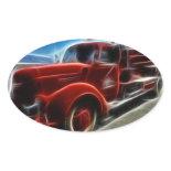 Beautiful Shiny Antique Red Fire Truck Art Sticker