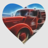 Beautiful Shiny Antique Red Fire Truck Art Heart Stickers